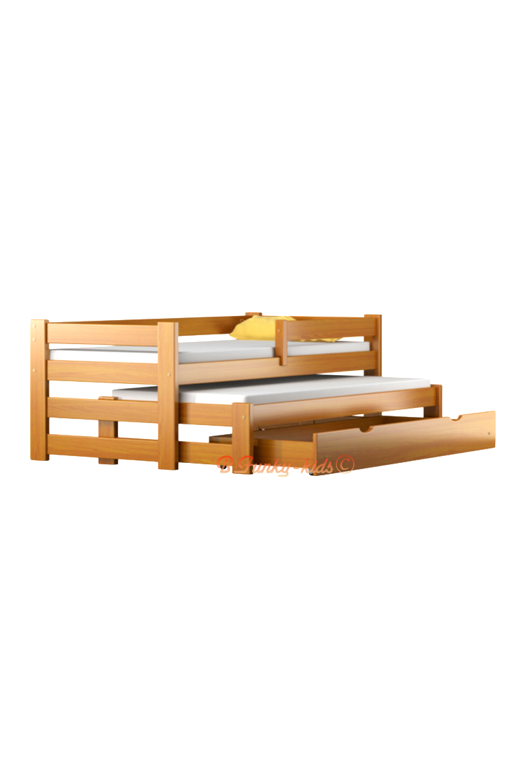 Trundle roll out solid wood daybed with drawer and mattresses pablo - Solid wood trundle bed with drawers ...