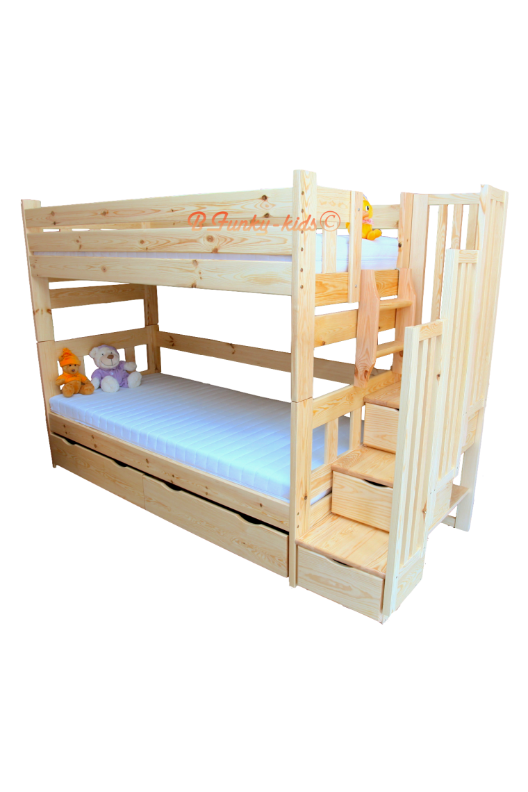 Solid pine wood bunk bed with stairs for 3 persons enrique for Beds 120 x 200