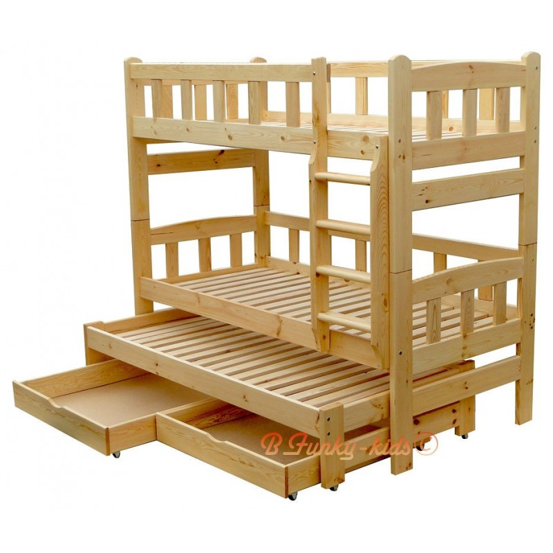 Solid pine wood roll out bunk bed nicolas for persons
