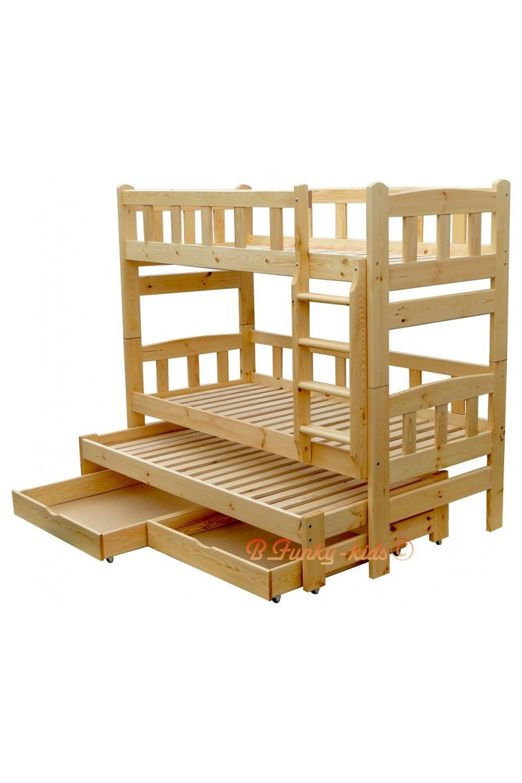Solid pine wood roll out bunk bed nicolas for 3 persons for 90 x 200 beds