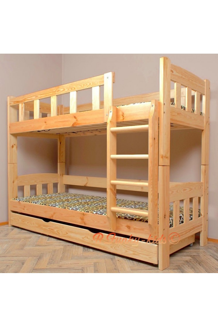 Solid pine wood bunk bed inez with mattresses and drawer for Wooden bunkbeds