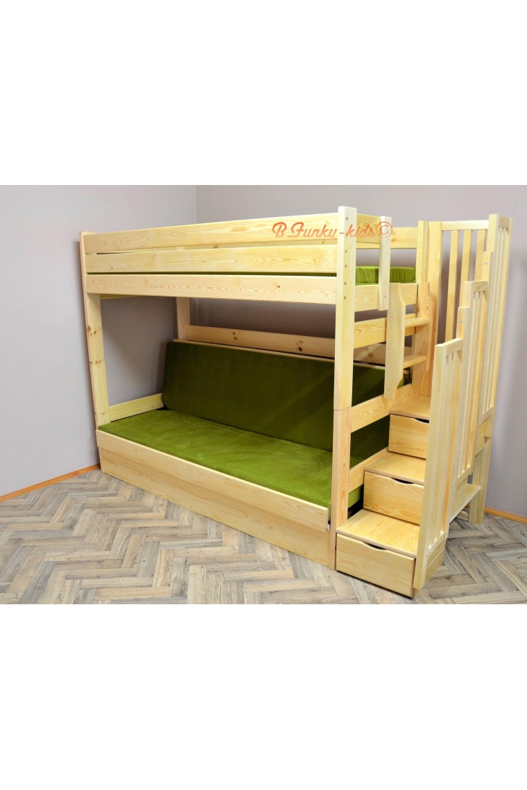 Solid pine wood bunk bed iris with stairs and mattresses for Unfinished loft bed
