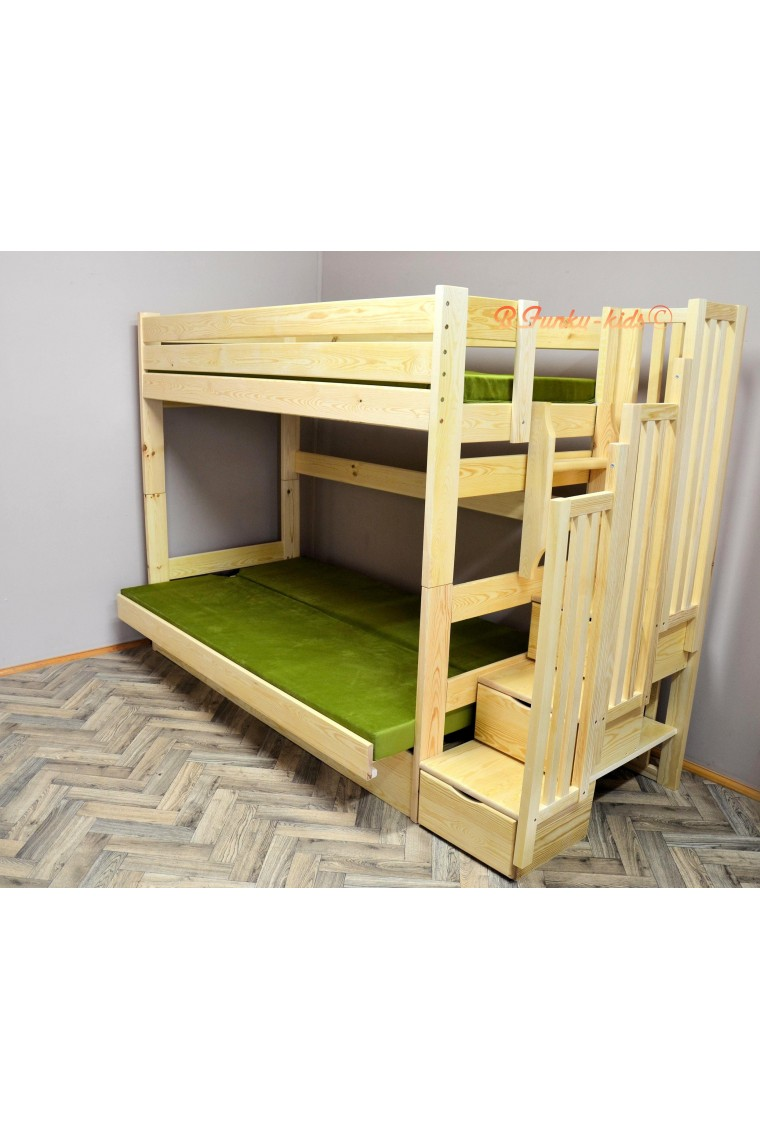 Solid pine wood bunk bed iris with stairs and mattresses for Wooden bunkbeds