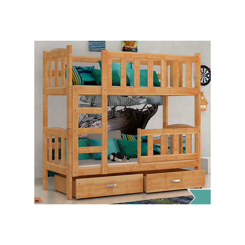Solid pine wood bunk bed bambi with mattresses and drawers 160x70 cm - Bunkbeds with drawers ...