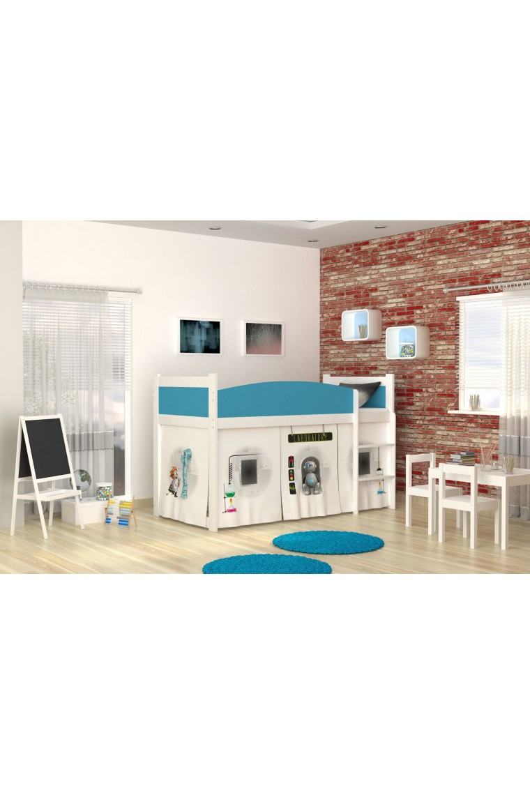 Loft bed mid sleeper Laboratory with mattress and curtains