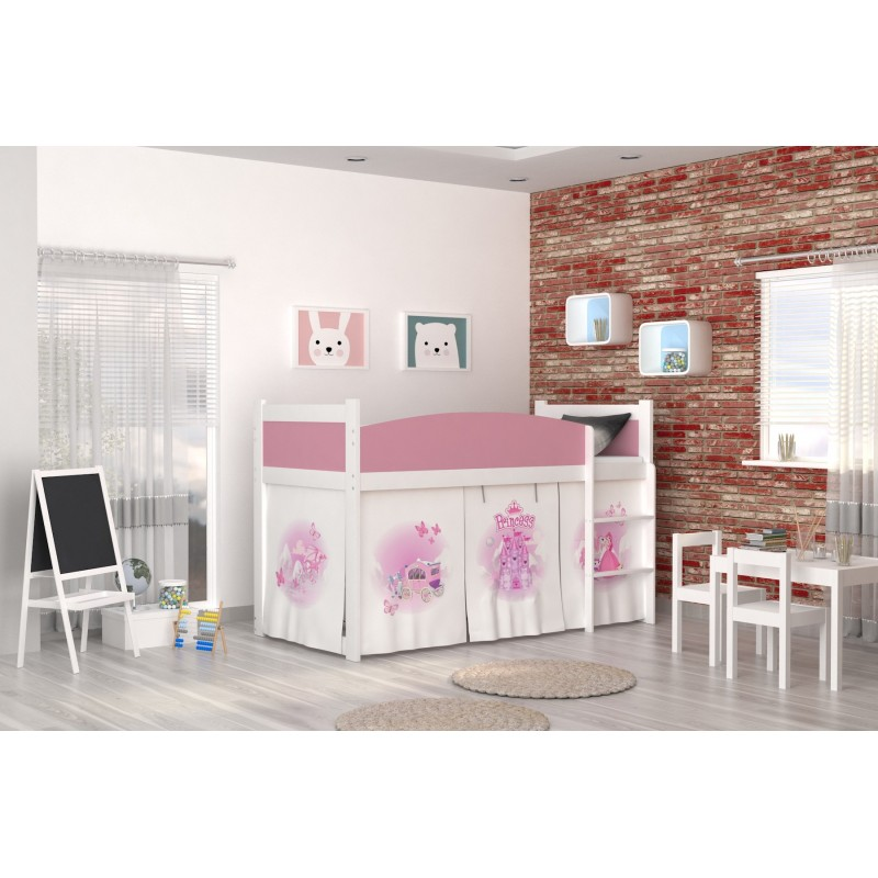 Loft Bed Mid Sleeper Princess With Mattress And Curtains