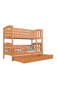 Solid pine wood bunk bed Jacob 2 with drawer 200x90 cm