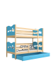 Solid pine wood bunk bed 190x80 cm