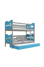 Roll-out bunk bed for 3 persons 190x80 cm Train Butterflies Hearts
