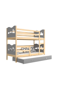 Solid pine wood roll-out bunk bed for 3 persons 190x80 cm Train Butterflies Hearts
