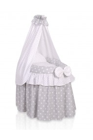 Wicker dolls crib grey