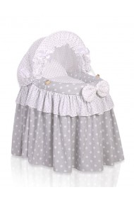 Wicker doll crib grey