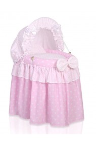 Wicker dolls crib pink
