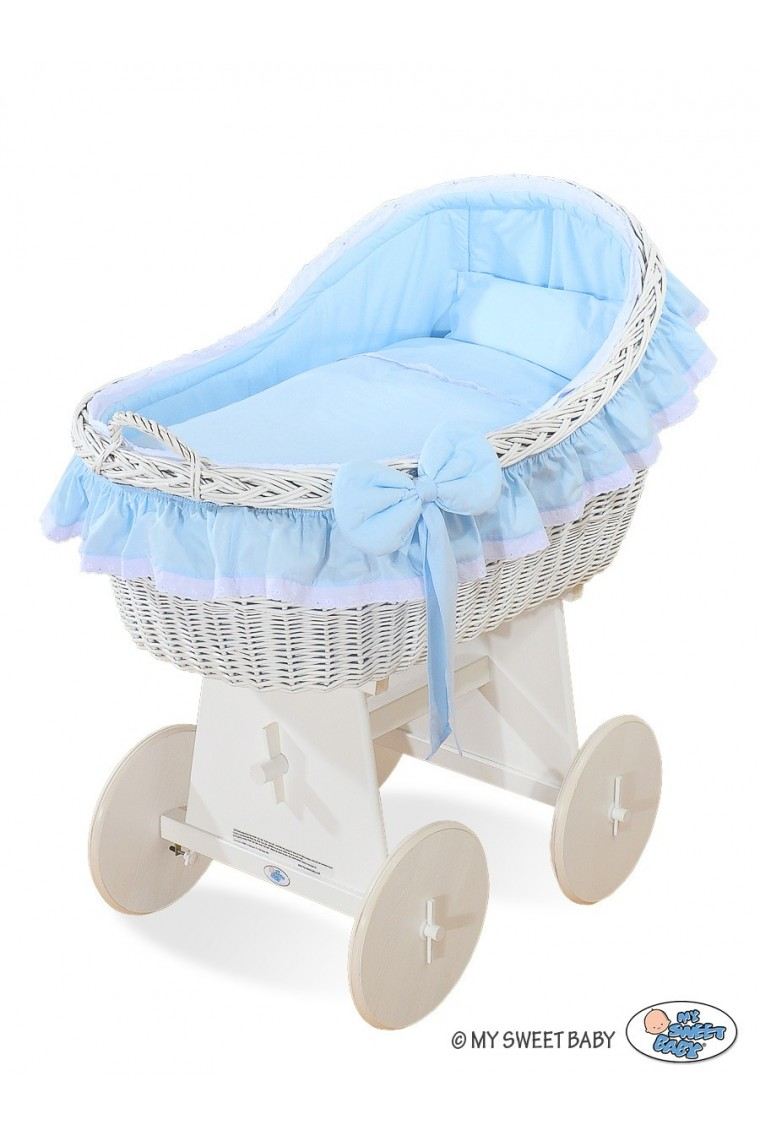 Wicker Crib Cradle Moses Basket Carine Blue White