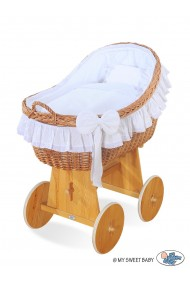 Wicker crib cradle moses basket Carine - White