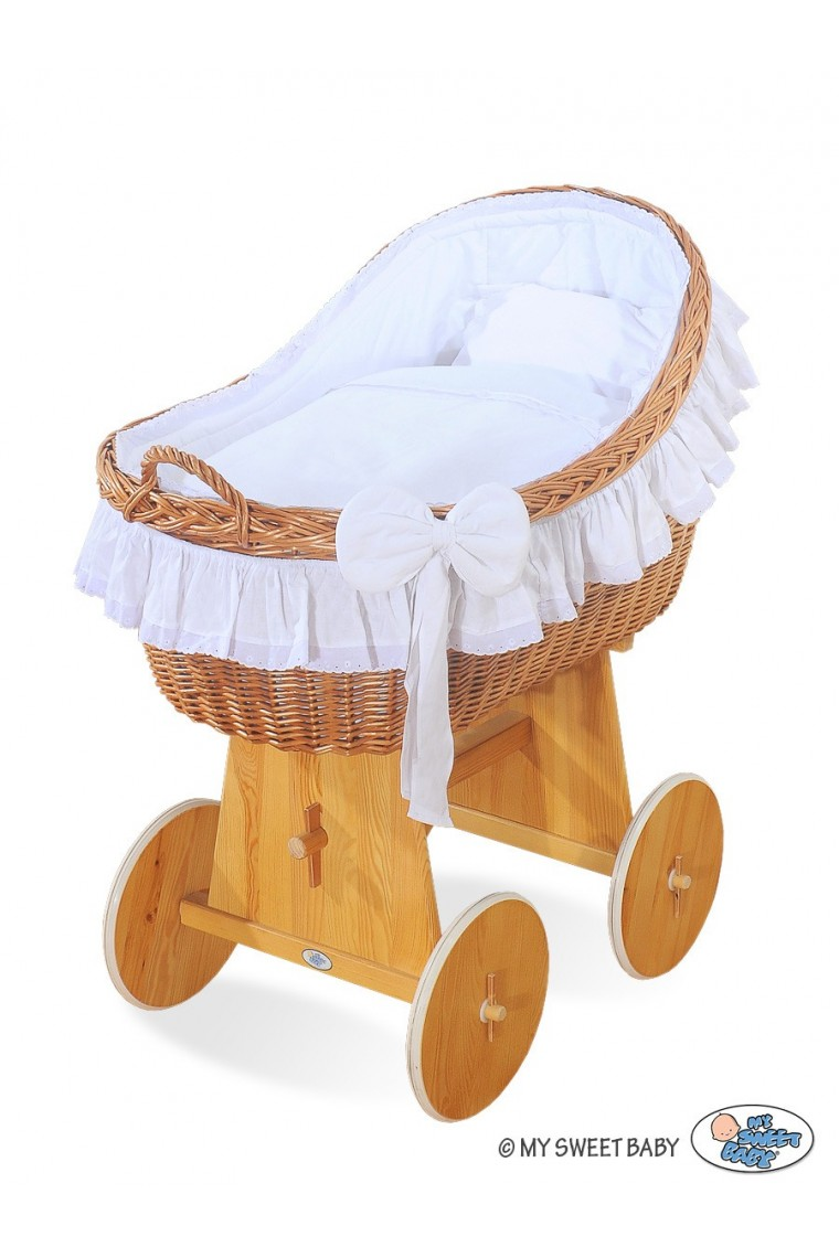 Wicker Crib Cradle Moses Basket Carine White