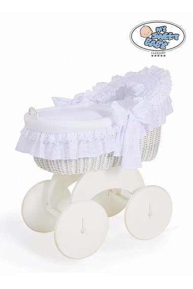 Wicker crib cradle moses basket Charlotte - White