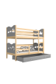 Solid pine wood bunk bed 200x90 cm