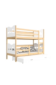 Solid pine wood roll-out bunk bed for 3 person 200x90 cm Train Butterflies Hearts