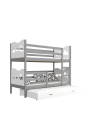 Roll-out bunk bed for 3 persons 200x90 cm Train Butterflies Hearts