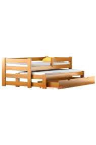 Trundle roll-out solid wood daybed with drawer and mattresses Pablo 190x90 cm