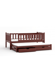Trundle roll-out solid wood bed with drawers Alma 200x90 cm