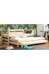 Trundle roll-out solid wood bed for 3 person Rico 180x80 cm