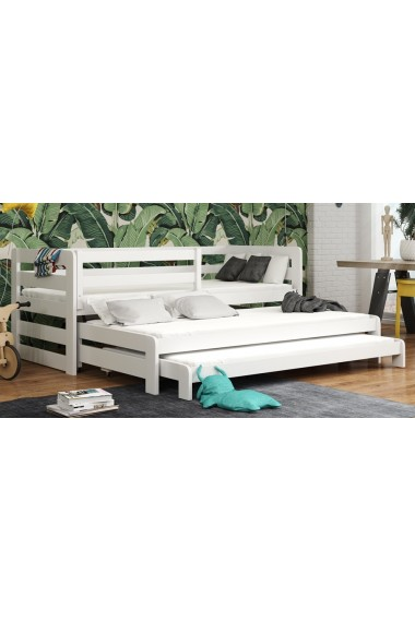 Trundle roll-out solid wood bed for 3 Rico 180x80 cm