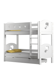 Solid pine wood bunk bed Hearts 160x80 cm