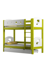 Solid pine wood bunk bed Hearts 180x80 cm