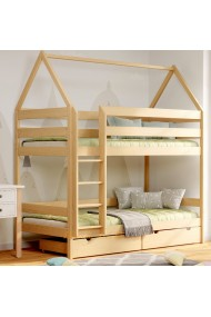 Solid pine wood bunk bed House 180x90 cm