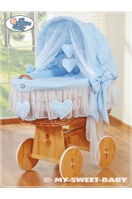 Wicker Crib Moses basket Hearts - Blue