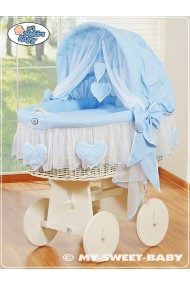 Wicker Crib Moses basket Hearts - Blue-White