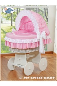 Wicker crib cradle moses basket Bellamy - Pink
