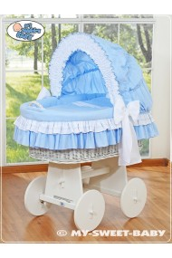 Wicker crib cradle moses basket Bellamy - Blue