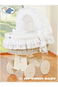Wicker crib cradle moses basket Bellamy - White