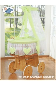 Wicker Crib Hearts - Green