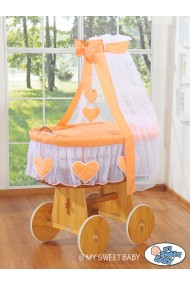 Wicker Crib Hearts - Peach