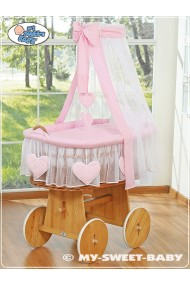 Wicker Crib Hearts - Pink