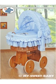 Wicker Crib Teddy - Blue