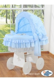 Wicker crib cradle moses basket Teddy - Blue-white