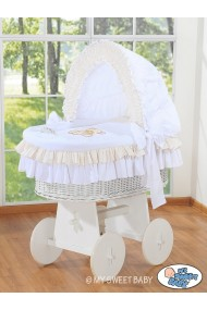 Wicker crib cradle moses basket Teddy - White