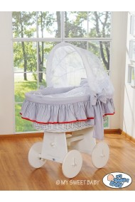 Wicker crib cradle moses basket Glamour - Grey-White
