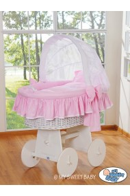 Wicker crib cradle moses basket Glamour - Pink-White