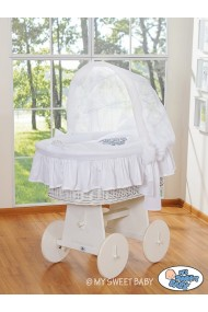Wicker crib cradle moses basket Glamour - White