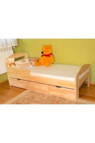Solid pine wood junior bed Tim2 with drawer 160x80 cm