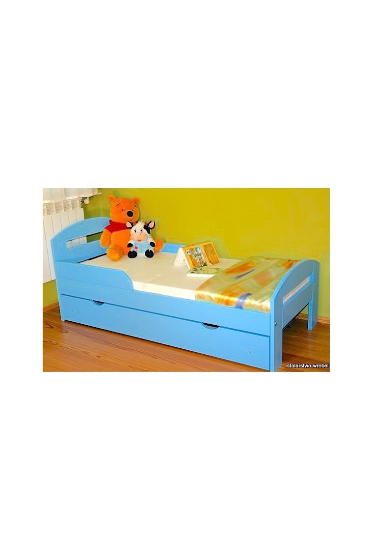 Solid Pine Wood Junior Bed Tim2 With Drawer 160x70 Cm