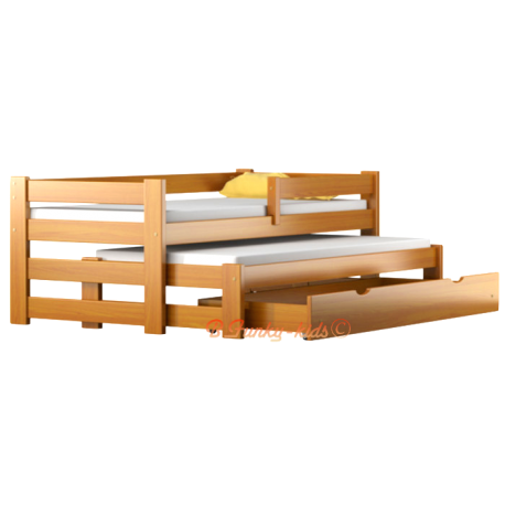 Trundle roll-out solid wood daybed with drawer and mattresses Pablo 190x80 cm