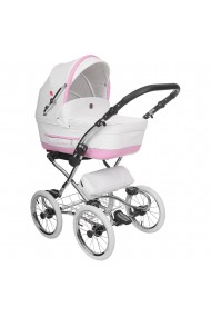 Classic pram Turran Eco White - Pink Leather 3 in 1 travel system