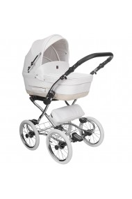 Classic pram Turran Eco White - Beige Leather Collection 3 in 1 travel system